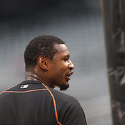 Adam Jones, Baltimore Orioles, during batting practice before the New York Mets Vs Baltimore Orioles MLB regular season baseball game at Citi Field, Queens, New York. USA. 5th May 2015. Photo Tim Clayton