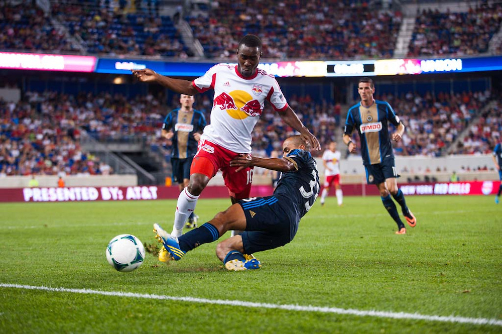HARRISON, NJ - AUGUST 17:  Lloyd Sam #10 of the New York Red Bulls in action during the game against the Philadelphia Union at Red Bulls Arena on August 17, 2013. (Photo By: Rob Tringali)