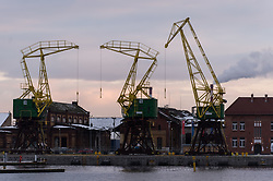 February 5, 2018 - Szczecin, Poland - Cranes seen at the maritim port in Szczecin. (Credit Image: © Omar Marques/SOPA via ZUMA Wire)