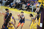Connecticut Sun guard Layshia Clarendon (23) shoots the ball during a WNBA basketball game, Friday, May 31, 2019, in Los Angeles.The Sparks defeated the Sun 77-70.  (Dylan Stewart/Image of Sport)