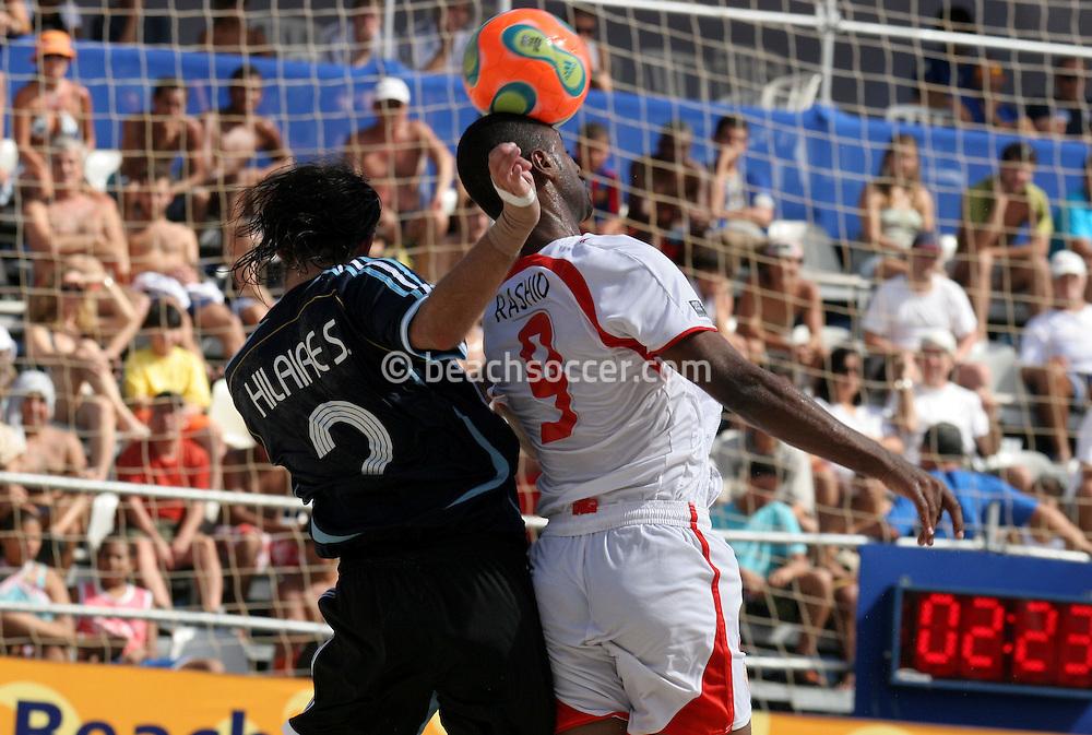 Footbal-FIFA Beach Soccer World Cup 2006 -  Oficial Games BHR x ARG - Hilaire S. and Salem- Brazil - 04/11/2006.<br />Mandatory Credit: FIFA/Ricardo Ayres