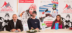 Damjan Pintar of Unitur Turizem, Gal Jakic and Spela Rozman at press conference prior to the Rogla Snowboard World Cup and IPC Alpine Skiing World Cup, on January 30, 2013 in Rogla, Slovenia. (Photo By Vid Ponikvar / Sportida.com)