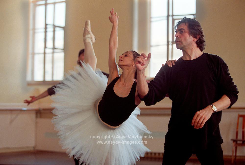 Roberta Marquez, Ivan Putrov, and Sasha Agadzhanov in rehearsal for Swan Lake. Mariinsky Theatre,St. Petersburg, Russia<br /> <br /> Music: Pietr Ilyich Tchaikovsky