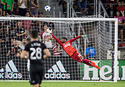 WASHINGTON, DC - AUGUST 29: Philadelphia Union goalkeeper Andre Blake (18) dives after a high lobbed shot during a MLS match between D.C United and the Philadelphia Union on August 29, 2018, at Audi Field, in Washington, DC. <br /> The Philadelphia Union defeated DC United 2-0.<br /> (Photo by Tony Quinn/Icon Sportswire)