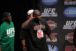 August 27, 2010; Boston, MA; USA; James Toney takes the stage to weigh in for his fight against Randy Couture.