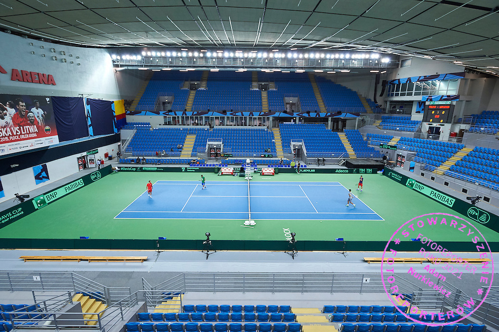 General view on the court during first day the Davies Cup / Group I Europe / Africa 1st round tennis match between Poland and Lithuania at Orlen Arena on March 6, 2015 in Plock, Poland<br /> Poland, Plock, March 6, 2015<br /> <br /> Picture also available in RAW (NEF) or TIFF format on special request.<br /> <br /> For editorial use only. Any commercial or promotional use requires permission.<br /> <br /> Mandatory credit:<br /> Photo by &copy; Adam Nurkiewicz / Mediasport