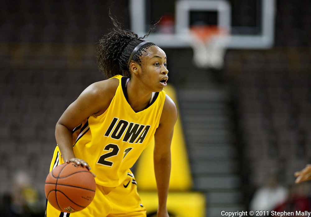 January 27 2010: Iowa guard Kachine Alexander (21) during the first half of an NCAA women's college basketball game at Carver-Hawkeye Arena in Iowa City, Iowa on January 27, 2010. Iowa defeated Michigan State 66-64.