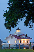 Picture of the Outer Banks historic lighthouse, Roanoke MarshesLighthouse at twilight.