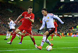 LIVERPOOL, ENGLAND - Thursday, March 10, 2016: Liverpool's Dejan Lovren in action against Manchester United's Anthony Martial during the UEFA Europa League Round of 16 1st Leg match at Anfield. (Pic by David Rawcliffe/Propaganda)