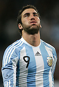 Argentina's Gonzalo Higuain  reacts during the international friendly match between Spain and Argentina in Madrid, Spain on November 14 2009.