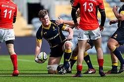 Ted Hill (Worcester Sixth Form College) (capt) of Worcester Warriors U18 scores a try - Rogan Thomson/JMP - 16/02/2017 - RUGBY UNION - Sixways Stadium - Worcester, England - Worcester Warriors U18 v Saracens U18 - Premiership Rugby Under 18 Academy Finals Day 5th Place Play-Off.