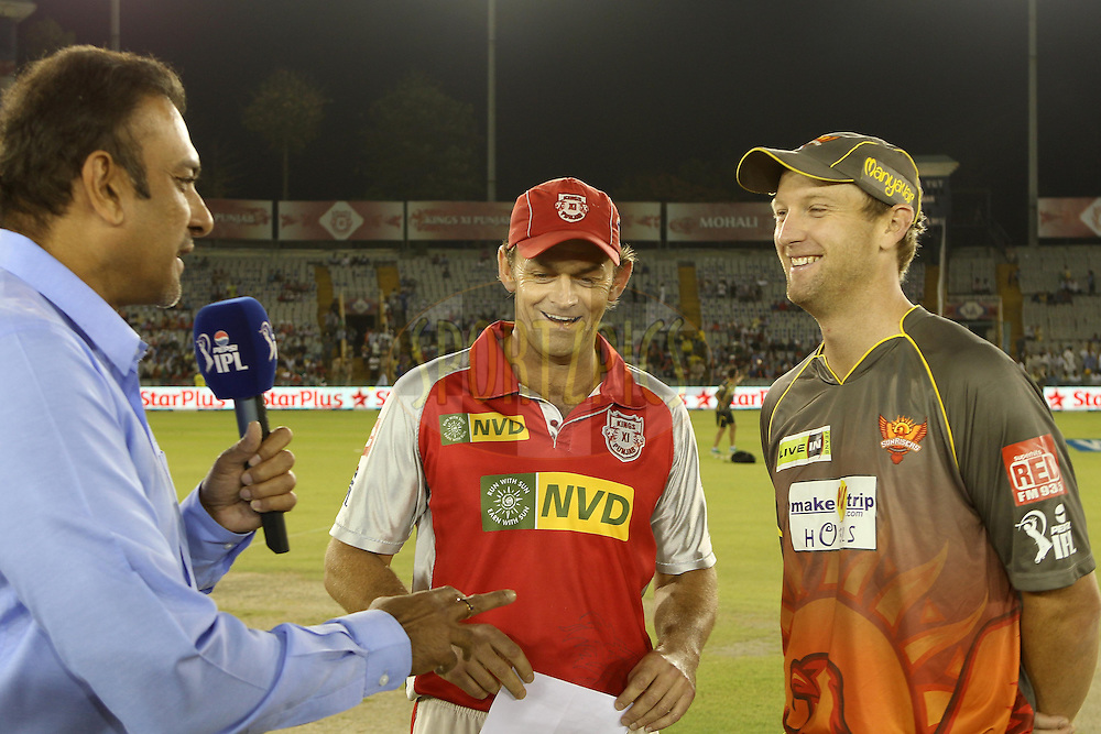Adam Gilchrist and Cameron White at the toss during match 59 of of the Pepsi Indian Premier League between The Kings XI Punjab and the Sunrisers Hyderabad held at the PCA Stadium, Mohal, India  on the 11th May 2013..Photo by Ron Gaunt-IPL-SPORTZPICS ..Use of this image is subject to the terms and conditions as outlined by the BCCI. These terms can be found by following this link:..http://www.sportzpics.co.za/image/I0000SoRagM2cIEc