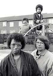Mothers and small children in playground, UK Dec 1988