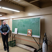 Undersheriff Mike Munk stands in front of the chalk board and explains that the significance of the date is the day law enforcement served their arrest warrants for the top members of the Aggressive Christianity Missions Training Corps (ACMTC) in Fence Lake Feb. 27th, 2019.