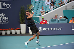 March 26, 2019 - Miami Gardens, Florida, United States Of America - MIAMI GARDENS, FLORIDA - MARCH 26: Roberto Bautista Agut of Spain defeats Novak Djokovic of Serbia during day 9 of the Miami Open presented by Itau at Hard Rock Stadium on March 26, 2019 in Miami Gardens, Florida...People: Roberto Bautista Agut. (Credit Image: © SMG via ZUMA Wire)