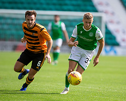 Alloa Athletic's Steven Hetherington and Hibernian's Fraser Murray. Hibernian 2 v 0 Alloa Athletic, Betfred Cup game played Saturday 20th July at Easter Road, Edinburgh.