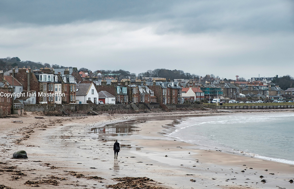 View of beach on seafront at North Berwick, East Lothian, Scotland, United Kingdom