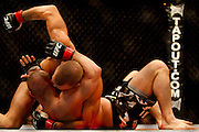 Montreal - 08APR19 - Georges St. Pierre pummels Matt Serra during UFC 83 at Montreal's Bell Center. GAZETTE PHOTO BY TIM SNOW