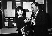 08/01/1988.01/08/1988.8th January 1988 .The Aer Lingus Young Scientist of the Year Award at the RDS, Dublin ..Picture shows Michael Hanley, President of the Teachers Union of Ireland with Janet Whittaker, Maynooth Post Primary School, Co. Kildare explaining her project 'The Use of Microwaves for Sterilization' which won her a prize sponsored by the Teachers Union.