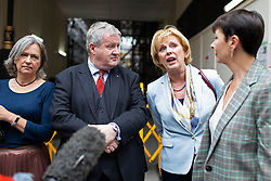 © Licensed to London News Pictures. 30/09/2019. London, UK. Plaid Cymru Westminster leader LIZ SAVILLE-ROBERTS ,SNP Westminster Leader IAN BLACKFORD ,Leader of Change UK ANNA SOUBRY and Green Party MP CAROLINE LUCAS talk to the media as they arrive at Portcullis House ahead of a meeting of opposition parties .  Photo credit: George Cracknell Wright/LNP