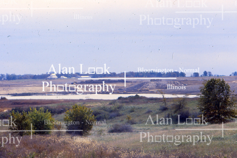 1975 or 1976 - the building of the Clinton Nuclear Power Plant and cooling lake in rural Clinton Illinois.<br /> <br /> <br /> This image was scanned from a slide, print or transparency.  Image quality may vary.  Dust and other unwanted artifacts may exist.