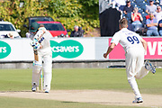 Brydon Carse bowls to Colin Ackemann during the Specsavers County Champ Div 2 match between Durham County Cricket Club and Leicestershire County Cricket Club at the Emirates Durham ICG Ground, Chester-le-Street, United Kingdom on 21 August 2019.