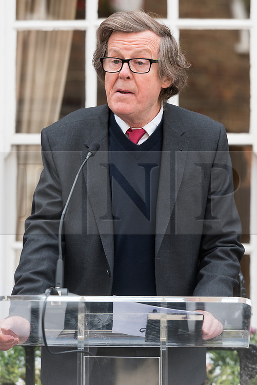 © Licensed to London News Pictures. 27/04/2017. London, UK. SIR DAVID HARE attends the unveiling of an English Heritage Blue Plaque at the London home of Sir John Gielgud where he lived for 31 years. Photo credit: Ray Tang/LNP