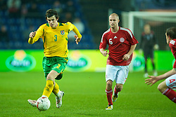 COPENHAGEN, DENMARK - Wednesday, November 19, 2008: Wales' Gareth Bale in action against Denmark during the international friendly match at the Brøndby Stadium. (Photo by David Rawcliffe/Propaganda)