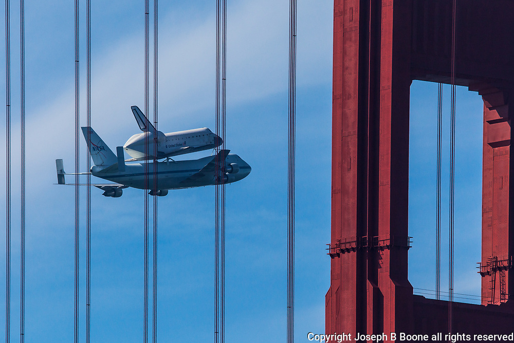Endeavor's last flight over Golden Gate Bridge.  Printed on archival luster paper, 16x24 inches.  Limited edition series.