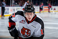 KELOWNA, CANADA - NOVEMBER 25: Gary Haden #17 of the Medicine Hat Tigers warms up against the Kelowna Rockets on November 25, 2017 at Prospera Place in Kelowna, British Columbia, Canada.  (Photo by Marissa Baecker/Shoot the Breeze)  *** Local Caption ***