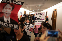 October 5, 2018 - Washington, District of Columbia, U.S. - Stop Kavanaugh Protesters At US Senate Offices ..Capitol Police clear the hallway in front of Senator Susan Collins office as she spoke on the floor of the Senate for confirming Justice Kavanaugh. (Credit Image: © Zach RobertsZUMA Wire)