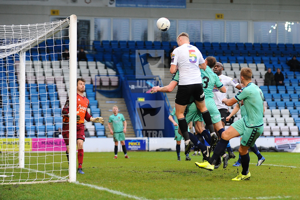 TELFORD COPYRIGHT MIKE SHERIDAN William(Billy) Sass-Davies of Telford (on loan from Crewe Alexandra) sees his header saved during the Vanarama National League Conference North fixture between AFC Telford United and Spennymoor Town on Saturday, November 16, 2019.<br /> <br /> Picture credit: Mike Sheridan/Ultrapress<br /> <br /> MS201920-030