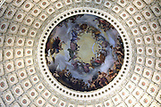 On the canopy, suspended 180 feet above the Rotunda floor, the Italian-American artist Constantino Brumidi painted The Apotheosis of Washington.  It depicts George Washington surrounded by symbols of American democracy and technological progress. Sandy Schaeffer Photography - Washington DC Photographer<br />
