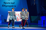 Special Olympics Official Flag while Closing Ceremony of the 10th Special Olympics World Winter Games in the Yongpyong Dome near Alpensia on February 5, 2013...South Korea, PyeongChang, February 5, 2013..Picture also available in RAW (NEF) or TIFF format on special request...For editorial use only. Any commercial or promotional use requires permission...Photo by © Adam Nurkiewicz / Mediasport