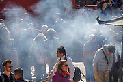 Japan, Tokyo, Asakusa, Senso-ji temple pilgrims burning incense sticks