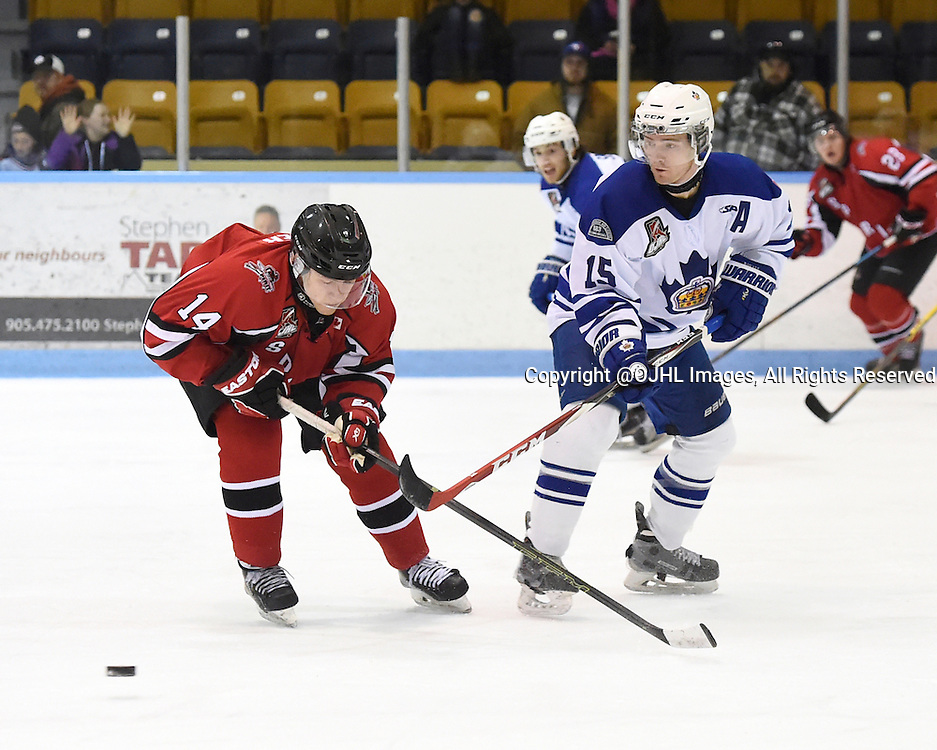 MARKHAM, - Feb 26, 2016 -  Ontario Junior Hockey League game action between Stouffville and Markham at the Markham Centennial Community Centre, ON. Josh Argier #14 of the Stouffville Spirit battles for the puck with Matthew Dunlop #15 of the Markham Royals during the second period.<br /> (Photo by Andy Corneau / OJHL Images)