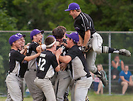 Monroe, New York - Monroe-Woodbury American players celebrate their 2-1 victory over Wallkill Area in the District 19 Little League Senior Baseball championship game on July 10, 2014.