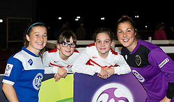 Bristol Academy players Christie Murray and Mary Earps with young fans at Stoke Gifford Stadium - Mandatory by-line: Paul Knight/JMP - Mobile: 07966 386802 - 29/08/2015 -  FOOTBALL - Stoke Gifford Stadium - Bristol, England -  Bristol Academy Women v Birmingham City Ladies FC - FA WSL Continental Tyres Cup