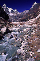 A clear mountain stream high in the Himalayas of Nepal.