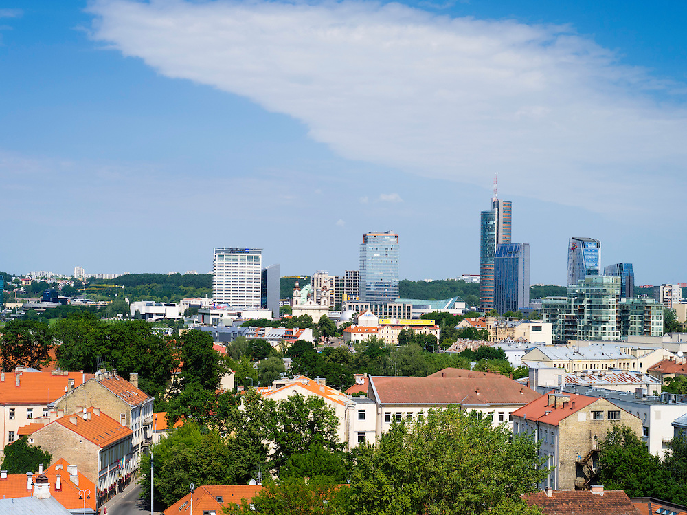 High-angle view overlooking Vilnius, Lithuania, from the Clocktower by the Cathedral
