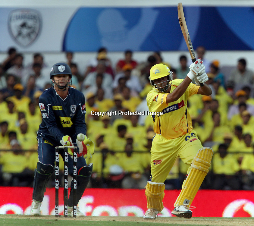 Chennai Super Kings Batsman Ravichandran Ashwin Hit The Shot Against Deccan Chargers  During The Indian Premier League - 42nd match Twenty20 match  2009/10 season Played at Vidarbha Cricket Association Stadium, Jamtha, Nagpur 10 April 2010 - day/night (20-over match)