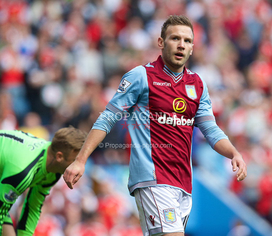 BIRMINGHAM, ENGLAND - Saturday, April 19, 2014: Aston Villa's Andreas Weimann in action against Southampton during the Premiership match at Villa Park. (Pic by David Rawcliffe/Propaganda)