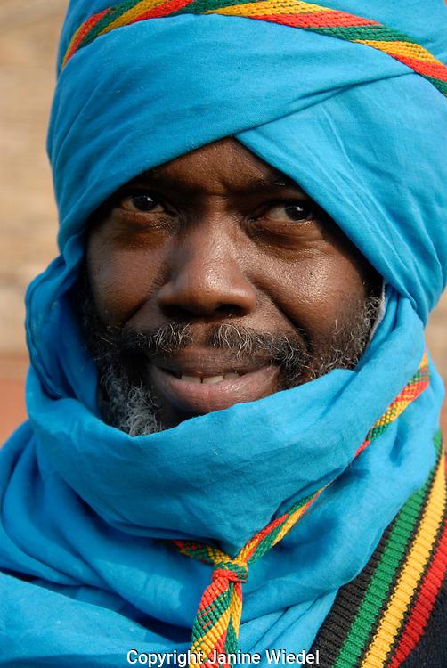Portrait of Rastafarian man.