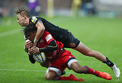 Maliq Holden of Bristol United is tackled by Harrison Cully of Exeter Braves  - Mandatory by-line: Gary Day/JMP - 09/09/2017 - RUGBY - Sandy Park Stadium - Exeter, England - Exeter Braves v Bristol United - Aviva A League