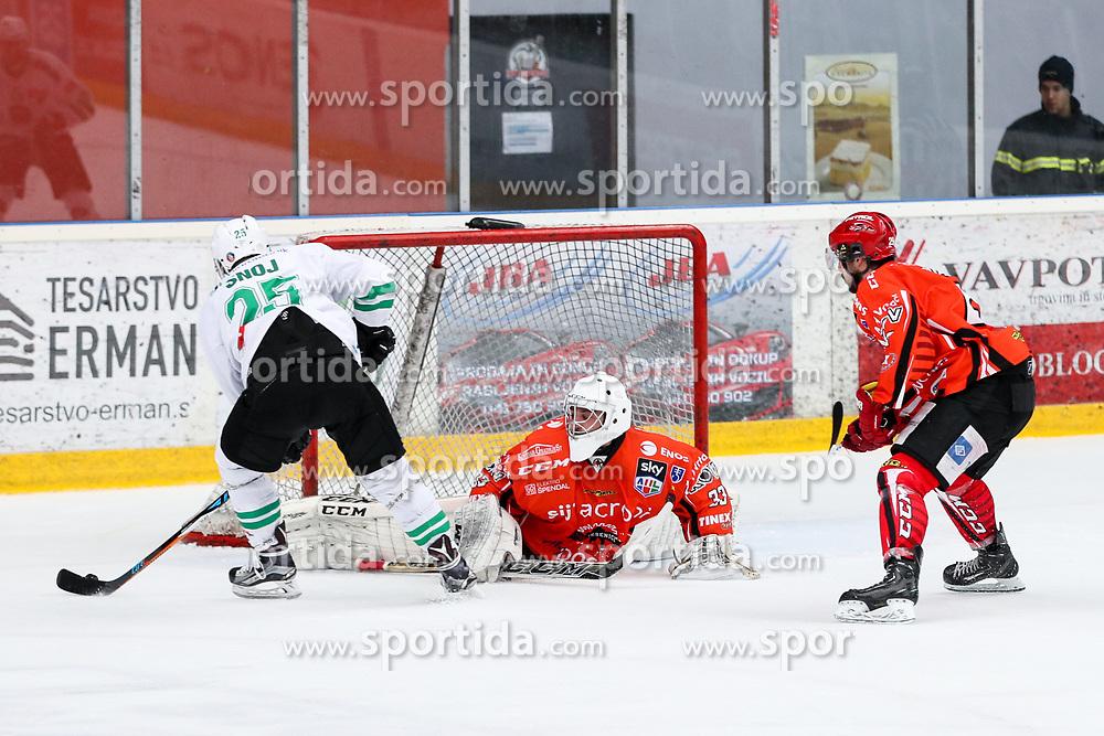 Crt Snoj of Olimpija vs Zan Us of Jesenice during ice hockey match between HDD SIJ Acroni Jesenice and HDD Olimpija Ljubljana in Final of Slovenian League 2016/17, on April 9, 2017 in Podmezaklja, Jesenice, Slovenia. Photo by Matic Klansek Velej/ Sportida