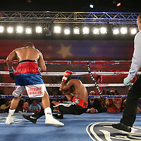 Radivvoje Kalajdzic (L) knocked down Larry Pryor with a belly shot during a Telemundo Boxeo boxing match at the A La Carte Pavilion on Friday,  March 13, 2015 in Tampa, Florida.  Kalajdzic  won the bout after the referee stopped the fight. (AP Photo/Alex Menendez)
