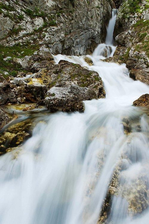 source of River Soca, water cascades<br /> Triglav National Park, Slovenia<br /> June 2009
