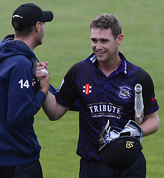 Ian Cockbain (capt) of Gloucestershire is congratulated by David Payne of Gloucestershire after the game as he achieves a career best 91 not out.  - Photo mandatory by-line: Dougie Allward/JMP - Mobile: 07966 386802 - 15/05/2015 - SPORT - Cricket - Bristol - Bristol County Ground - Gloucestershire County Cricket v Middlesex County Cricket - NatWest T20 Blast