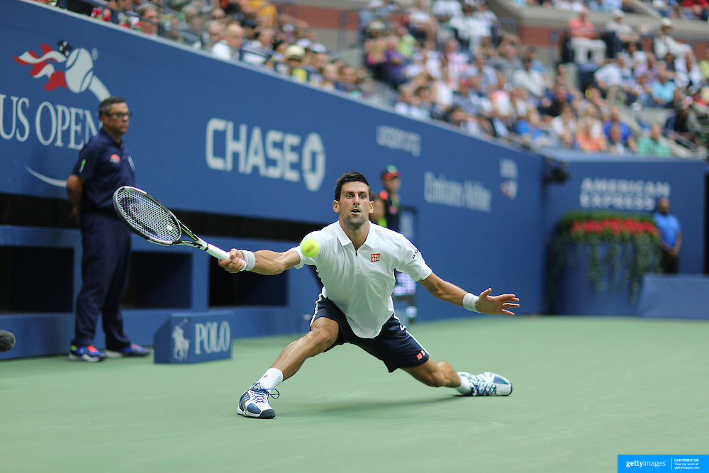 2016 U.S. Open - Day 12  Novak Djokovic of Serbia in action against Gael Monfils of France in the Men's Singles Semifinal match on Arthur Ashe Stadium on day twelve of the 2016 US Open Tennis Tournament at the USTA Billie Jean King National Tennis Center on September 9, 2016 in Flushing, Queens, New York City.  (Photo by Tim Clayton/Corbis via Getty Images)