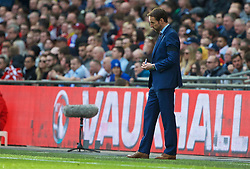 LONDON, ENGLAND - Sunday, March 26, 2017: England's manager Gareth Southgate in action against Lithuania during the 2018 FIFA World Cup Qualifying Group F match at Wembley Stadium. (Pic by Lexie Lin/Propaganda)
